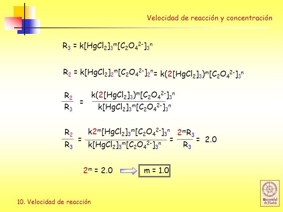 R3 = k[HgCl2]3m[C2O42-]3n R2 = k[HgCl2]2m[C2O42-]2n